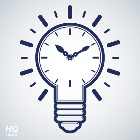 Vector timer and a electricity light bulb sign, brain storm conceptual icon - corporate problem solution theme. Wall clock with an hour hand. Graphic web insight emblem. Vetores