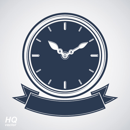 clock face: Best timing vector eps8 icon, wall clock with an hour hand on dial. High quality timer illustration with curvy decorative ribbon. Business planning conceptual icon. Illustration