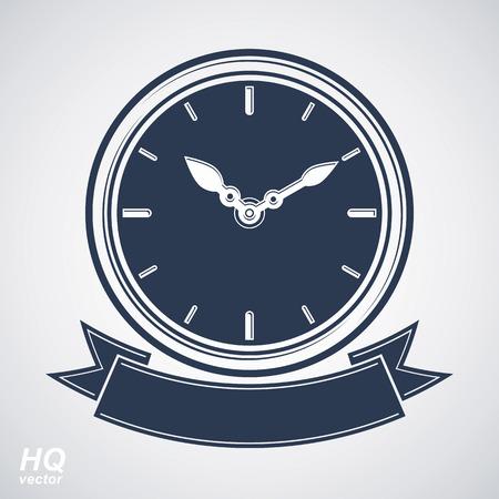 reloj pared: El mejor icono del vector eps8 calendario, reloj de pared con una aguja de las horas en el dial. Ilustraci�n temporizador de alta calidad con una cinta decorativa con curvas. La planificaci�n empresarial icono conceptual.