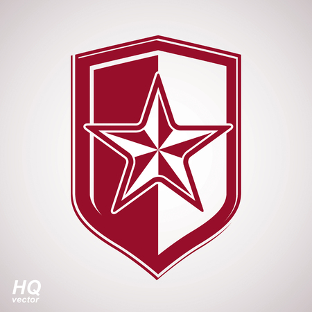 conceptual symbol: Vector shield with a red pentagonal Soviet star, protection heraldic blazon. Communism and socialism conceptual symbol. Ussr design element.