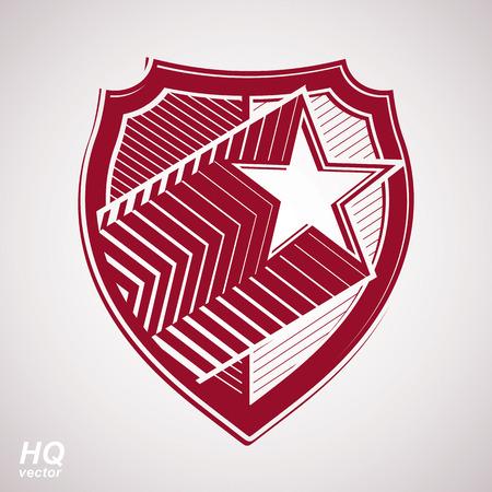 communistic: Vector escudo militar con la estrella cometa pentagonal, protecci�n her�ldico blas�n sheriff. Urss s�mbolo conceptual comunista. Fuerzas de la capa gr�fica de brazos. Tema de la Uni�n Sovi�tica. Vectores