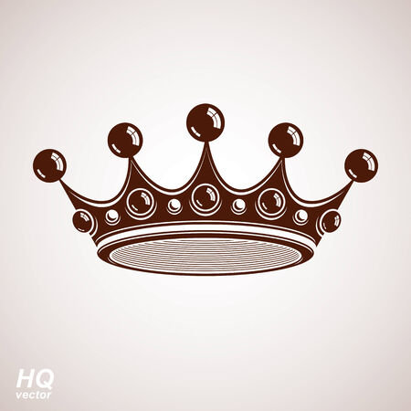coronet: Royal design element, regal icon. Vector majestic crown, luxury stylized coronet illustration. King and queen regalia – imperial eps8 symbol. Illustration