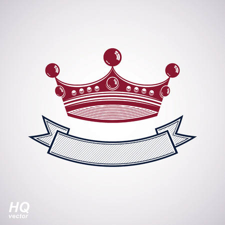 coronet: Vector imperial crown with undulate ribbon. Classic coronet with decorative curvy band. King regalia design element isolated on white background.