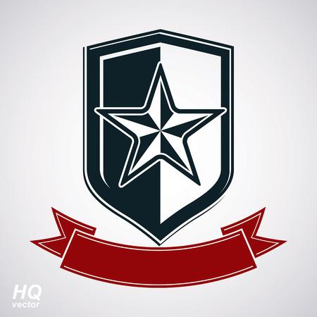 communistic: Escudo del vector con la estrella sovi�tica pentagonal y una cinta decorativa con curvas, protecci�n blas�n her�ldico. El comunismo y el socialismo s�mbolo conceptual. Urss elemento de dise�o cl�sico, premio.