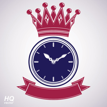 hour hand: Best timing award vector eps8 icon, luxury wall clock with an hour hand on dial. High quality timer illustration with curvy decorative ribbon and royal crown.