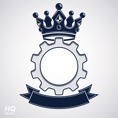 rown: Vector industrial design element, cog wheel with a coronet and black decorative curvy ribbon. High quality manufacturing gear icon. Best engineering project award conceptual symbol. Royal heraldic coat of arms. Illustration
