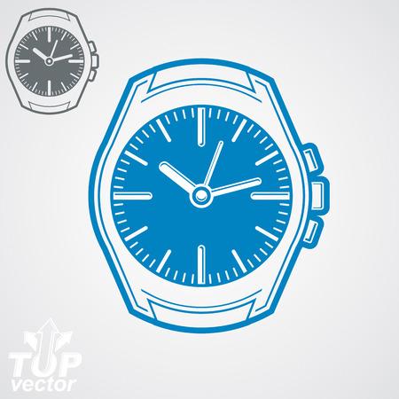 stylized design: Grafica vettoriale orologio da tasca illustrazione, classico orologio dettagliato con quadrante e una mano di ora. Temporizzatore Retro, orologio simbolico. Elemento di design stilizzato. Vettoriali