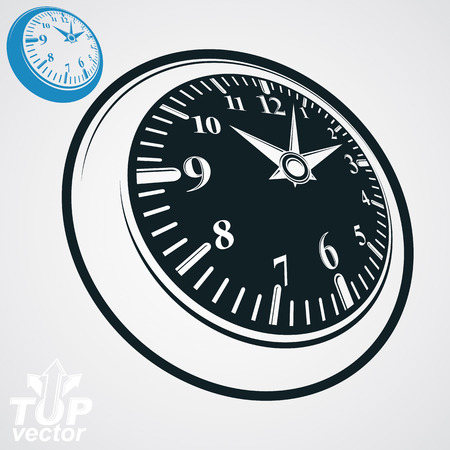 interim: 3d vector round wall clock with black dial, simple version included. Time idea conceptual classic symbol. Elegant graphic dimensional ticker. Illustration