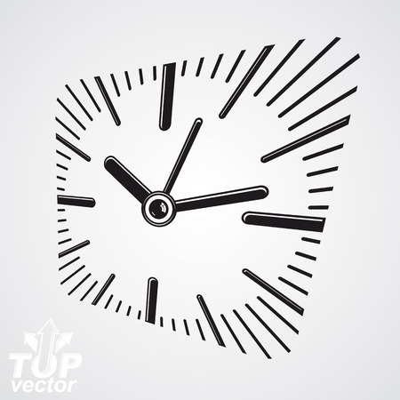 interim: 3d vector square wall clock with dial and an hour hand. Time idea classic symbol. Time management conceptual elegant symbol. Web design element.