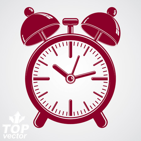 clang: Vector 3d alarm clock with two symmetric bells, wake up conceptual icon. Graphic design element – get up theme. Red retro timer with clang bells. Illustration