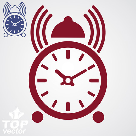 clang: Stylized alarm clock vector 3d illustration with podcast sign, classic wake up ticker. Graphic retro dimensional clock with clang bell, hurry concept. Illustration
