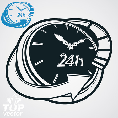 Black and white 3d vector 24 hours timer, around-the-clock pictogram. Time idea dimensional symbol. Twenty-four hours a day conceptual stylized icon. Business time management illustration. Vector