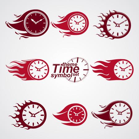 llamas de fuego: El tiempo se acaba concepto, temporizadores del vector con la llama ardiente. Eps 8 claras ilustraciones de vectores. Conjunto de tema plazo ilustraciones estilizadas.