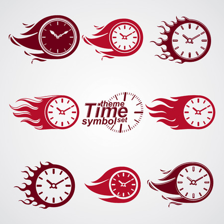 clear out: Time is running out concept, vector timers with burning flame. Eps 8 clear vector illustrations. Set of deadline theme stylized illustrations.
