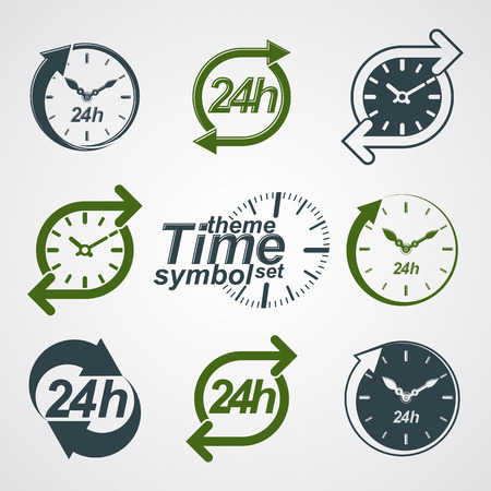 24h: Graphic web vector 24 hours timer, around-the-clock flat pictograms collection. Day-and-night interface icons. Set of business time management illustrations.