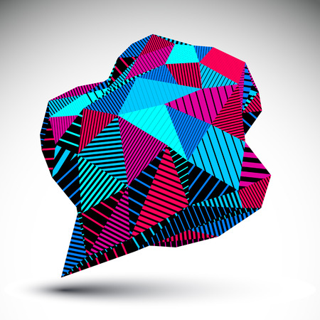 misshapen: Stylish asymmetric contrast figure with parallel lines. Striped bright misshapen abstract vector object constructed from graffiti triangles.