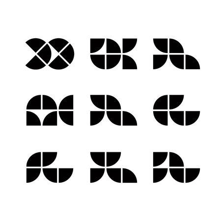 simplistic: Abstract geometric simplistic icons set, vector symbols.