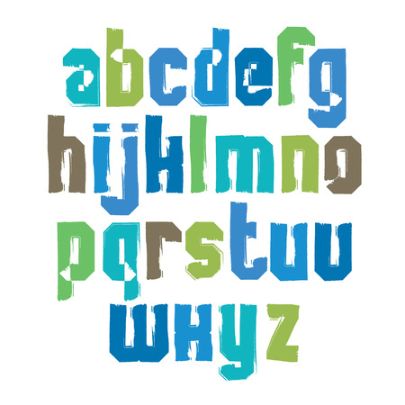 verb: Lowercase calligraphic brush letters, hand-painted bright vector alphabet.