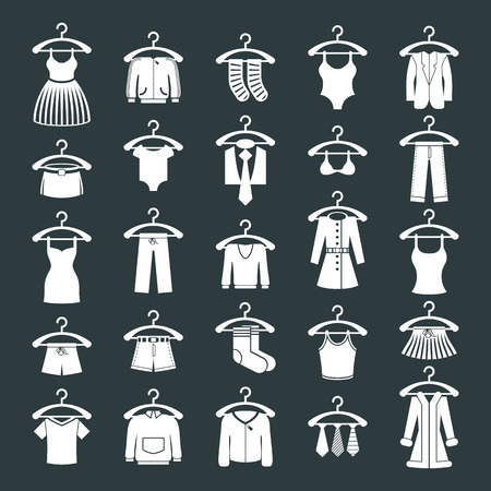 frock coat: Clothes icon set, vector collection of fashion signs.