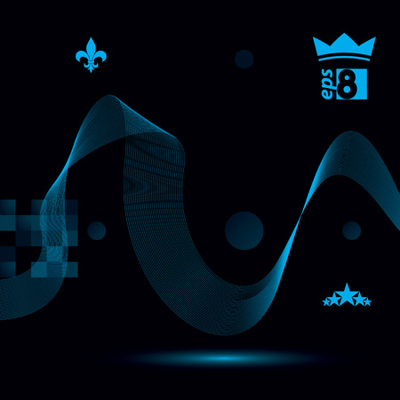 unwind: Dimensional flowing stripy ribbon, dreamy futuristic background with royal elements, stars and crown, eps8 design vector illustration.