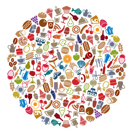 Food and beverages round layout, vector illustration, elements easy to use separately.