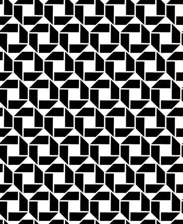 interlace: Monochrome endless vector texture with geometric figures, motif abstract contemporary geometric background. Creative black and white symmetric continuous pattern.
