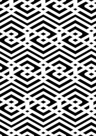 intertwine: Black and white abstract ornament geometric seamless pattern. Symmetric monochrome vector textile backdrop. Intertwine rhombs. Illustration