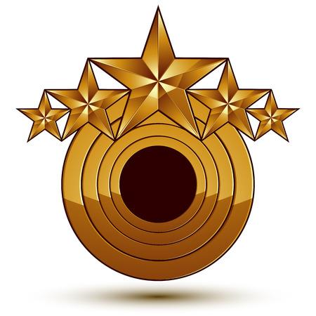 aurum: Geometric vector classic golden element isolated on white backdrop, dimensional decorative stars, shaped blazon.