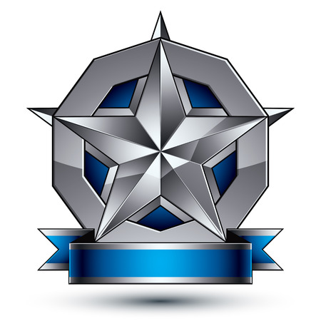 argent: Glamorous vector template with pentagonal silver star symbol, best for use in web and graphic design. Conceptual heraldic icon with wonderful smooth strip, clear eps8 vector. Illustration
