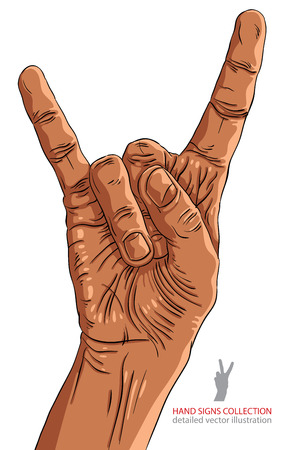 heavy metal music: Rock on hand sign, rock n roll, hard rock, heavy metal, music, detailed lines vector illustration, hand drawn.