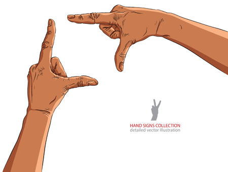 viewport: Hands shaped in viewfinder, African ethnicity, detailed vector illustration.