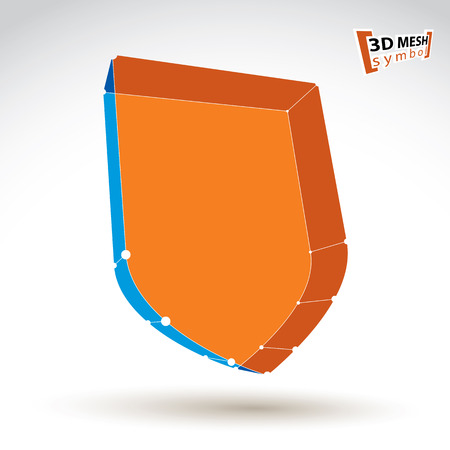 eps 8: 3d mesh web orange security icon isolated on white background, colorful carcass shield symbol, dimensional tech protection object, clear eps 8 vector illustration, bright perspective antivirus icon.