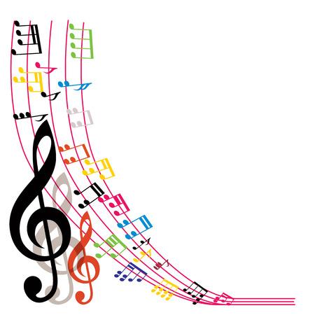スタイリッシュな音楽テーマ作曲、音楽ノート背景ベクトル イラスト。