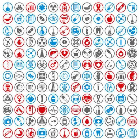 Medische pictogrammen set, vector set van 144 medische en geneeskunde tekenen. Stock Illustratie