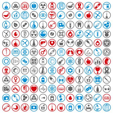 Medical icons set, vector set of 144 medical and medicine signs. Illustration