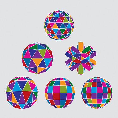 disco symbol: Collection of complex dimensional spheres and abstract geometric figures with white outline. Kaleidoscope facet.