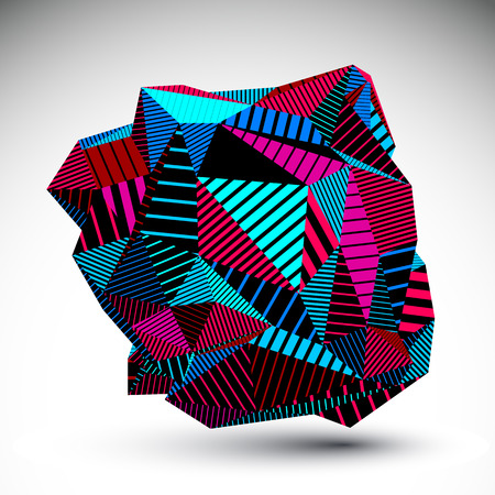 asymmetric: Decorative complicated unusual eps8 figure constructed from triangles with parallel black lines. Magenta striped multifaceted asymmetric contrast element, colorful illustration for technology projects. Illustration