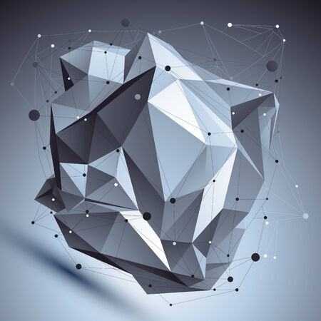 asymmetric: Abstract 3D asymmetric structure, polygonal vector network complicated pattern, design deformed figure placed over shaded background.