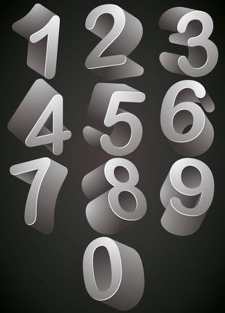 numerical: 3D monochrome numbers vector set, look best over dark background.