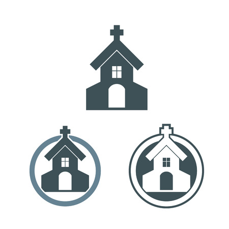 blue vintage background: Vector church building icons set. Illustration