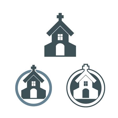church icon: Vector church building icons set. Illustration