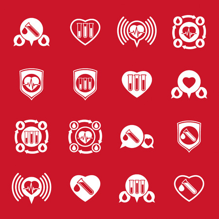 organ donation: Cardiology and blood transfusion vector icons set, creative symbols for medical theme, vector collection.
