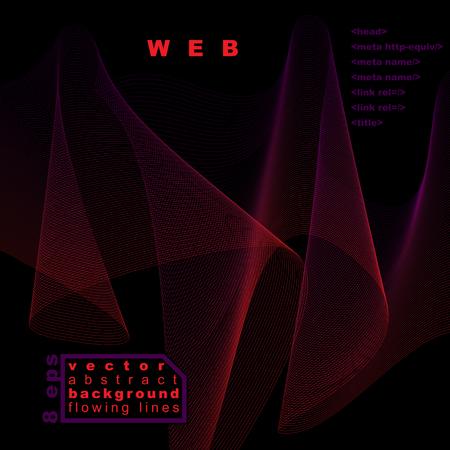 unwind: Dimensional motif elegant flowing curves, dark background with copy space, eps8 design backdrop.