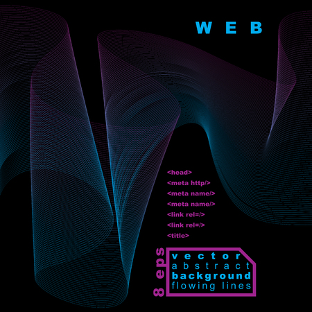 unwind: Dark vector soft composition, 3d wavy decorative ribbon. Abstract sophisticated background with graphic web elements.