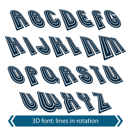 verb: Dimensional shift letters with rotation effect, creative geometric draft characters. Illustration