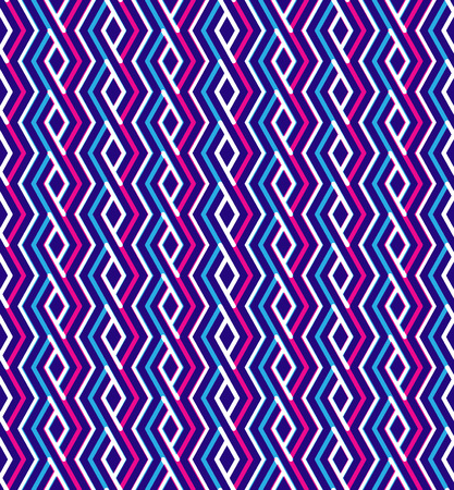 Bright abstract seamless pattern with interweave lines. Vector psychedelic wallpaper with stripes. Endless zigzag decorative background. Vector