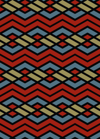 intertwine: Bright abstract seamless pattern with interweave lines. Vector psychedelic wallpaper with stripes. Contrast endless decorative background.