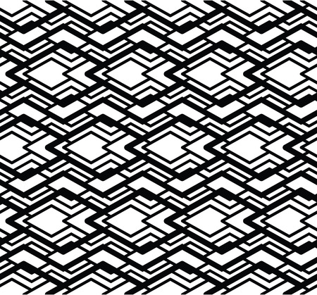 never ending: Monochrome visual abstract textured geometric seamless pattern. Symmetric black and white vector textile backdrop. Intertwine composition.