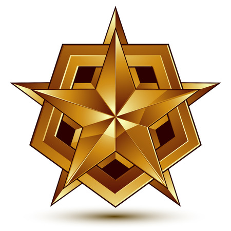 aurum: 3d vector classic royal symbol, sophisticated golden star emblem isolated on white background, glossy aurum element.