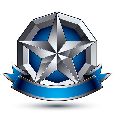 awarded: Heraldic 3d glossy blue and gray icon - can be used in web and graphic design, five-pointed silver star placed over rounded magnificent element with elegant ribbon, clear EPS 8 vector. Illustration